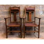 Pair of Upholstered Arts and Crafts Style Carver Clergy Chairs