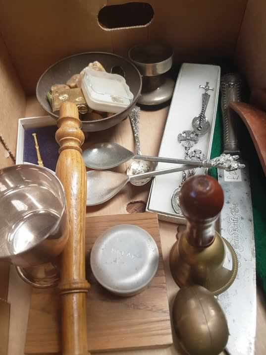 Small Box of items, Victorian Communion Knife, Auction Gavel etc - Image 3 of 4
