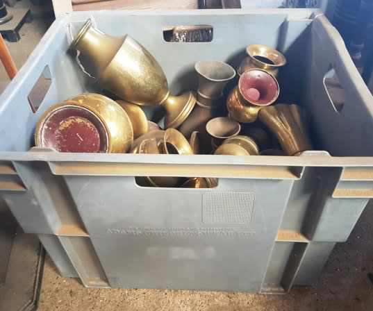 Large Box of Church Brass Flower Vases Grey Box - Image 3 of 4