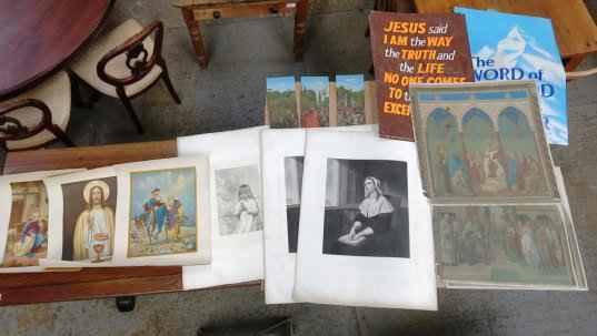 Folio of Religious Prints and Artwork