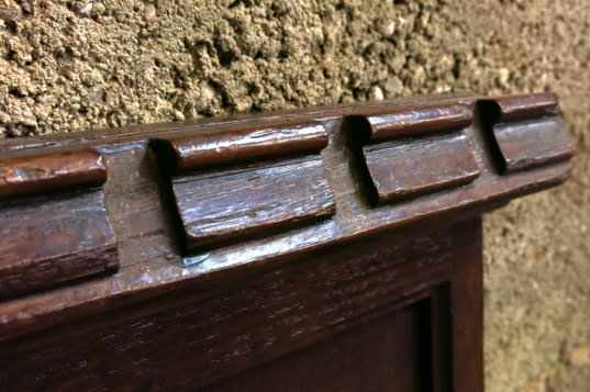 Pair of Oak Hymn Boards with Dentil Moulding Tops - Image 3 of 6