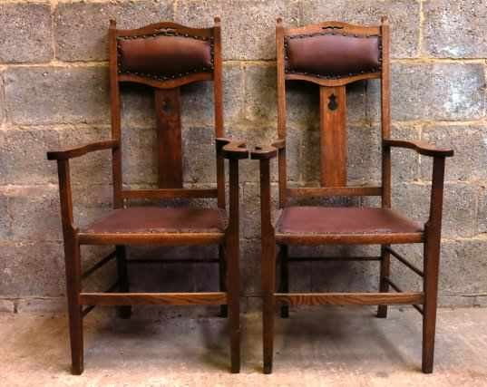 Pair of Upholstered Arts and Crafts Style Carver Clergy Chairs - Image 2 of 8
