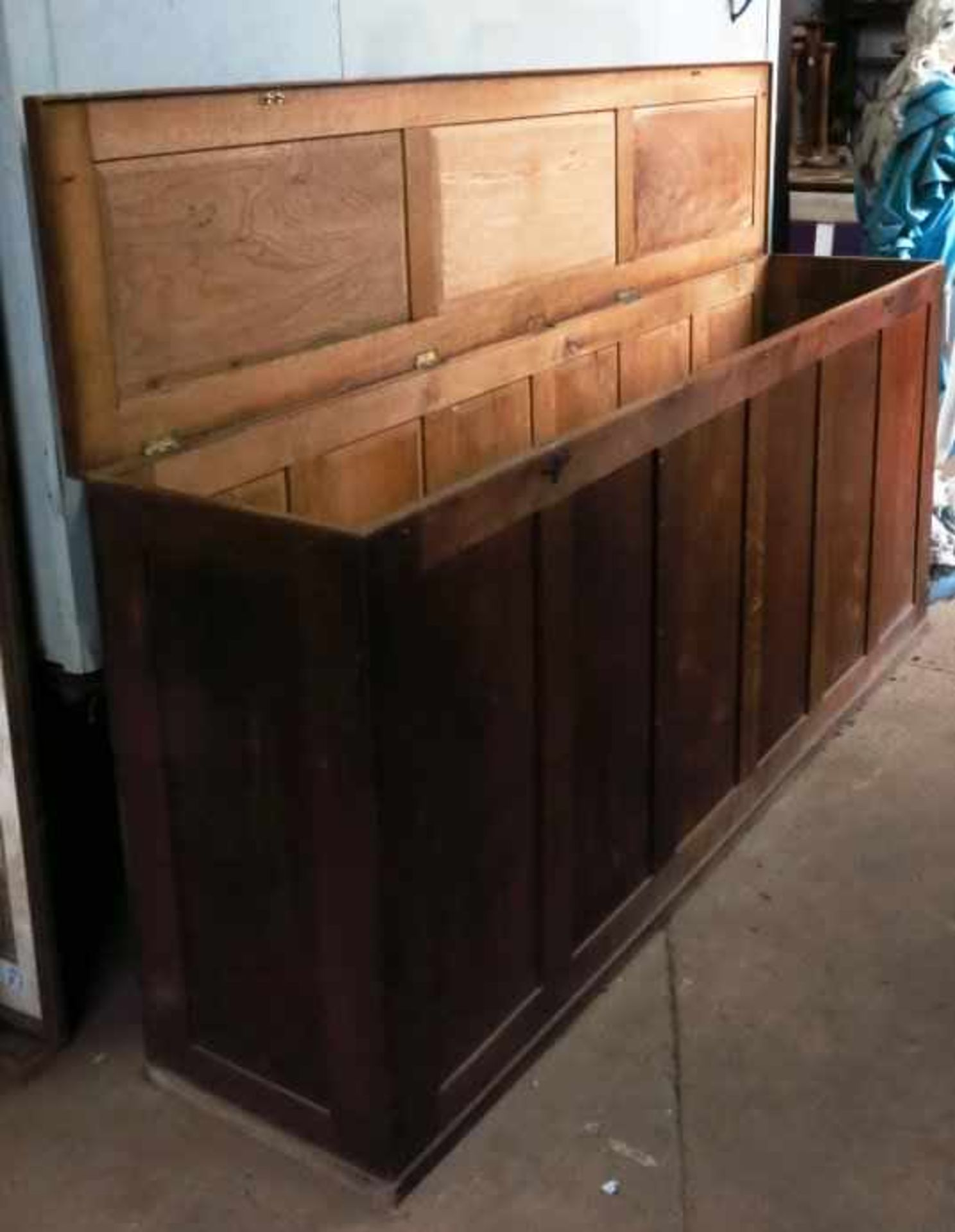Extremely Large Oak Altar Vestment Chest - Image 9 of 10