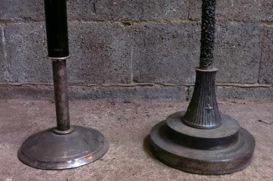 Two Tall Pavement Metal and Wood Designer Candlesticks - Image 4 of 6