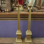 Candle Stands Candlesticks Large Wooden Gold Painted Pair