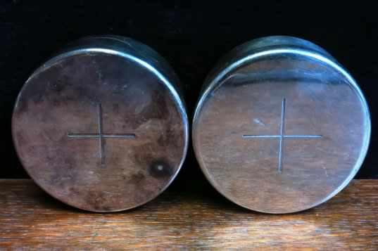 Pair of silver plated Holy Wafer Boxes Ex- Army