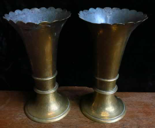 Inscribed Victorian Gothic Brass Flower Vases - Image 2 of 4