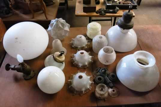 Collection of Assorted Glass Lamp shades and fittings