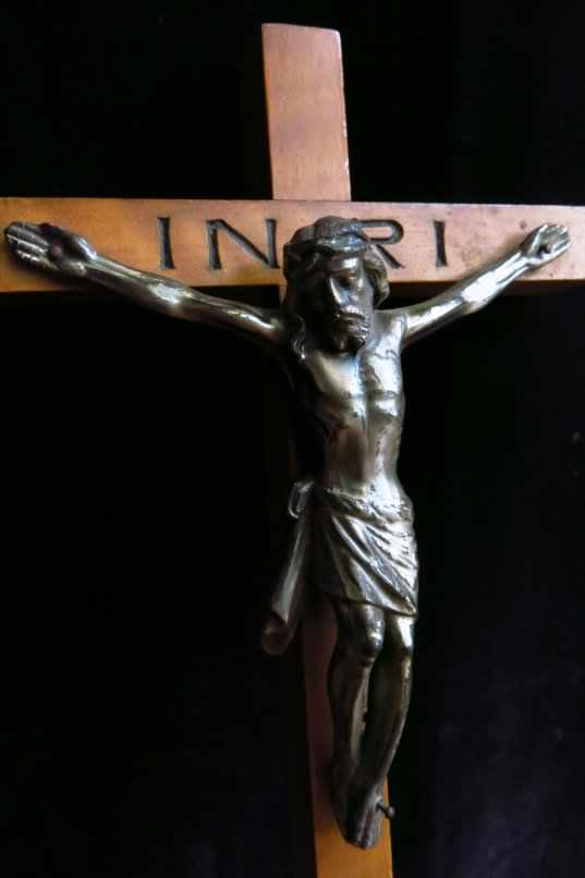 Silver Coloured Metal Crucifix with inscribed INRI