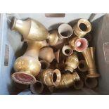 Large Box of Church Brass Flower Vases Grey Box
