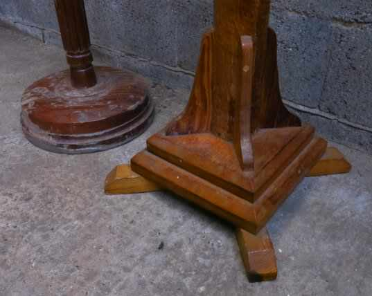 Two Very Tall Paschal Teak and Oak Candlesticks - Image 3 of 6
