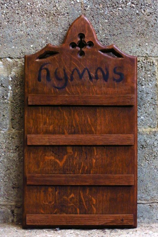 Attractive Oak Smaller Hymnboard with cutaways