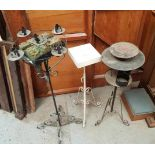Three Assorted Steel Plant Stands Candlestands