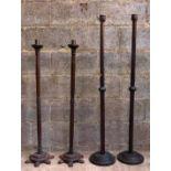 Two Pairs Oak and Teak Tall Pavement Candlesticks