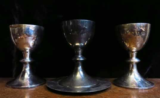 3 x Ex Army Chaplain Silver Plate Chalices and Paten