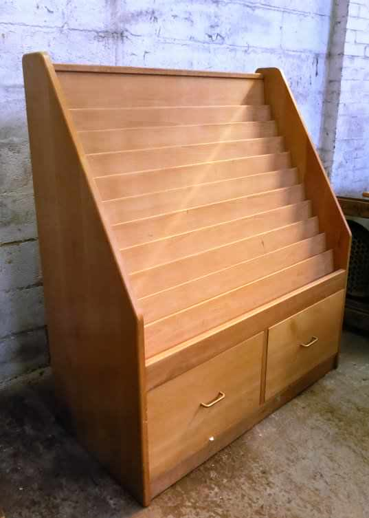 Large Pale Oak Coloured Display Case with Drawers