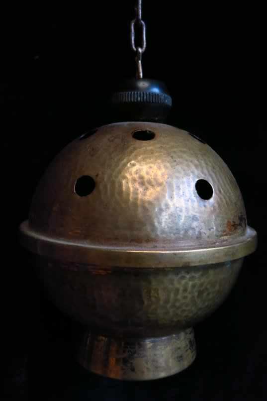 Old Hammered Brass Thurible Censor Incense Burner
