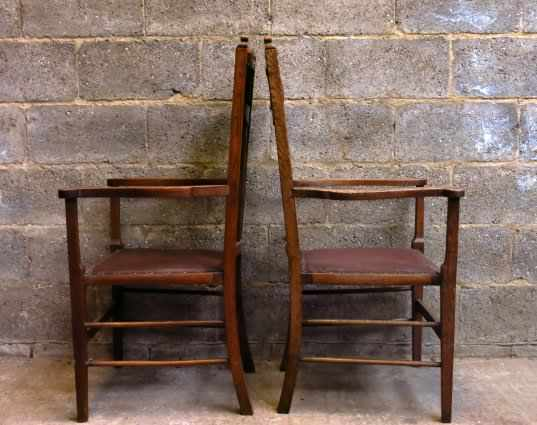 Pair of Upholstered Arts and Crafts Style Carver Clergy Chairs - Image 5 of 8