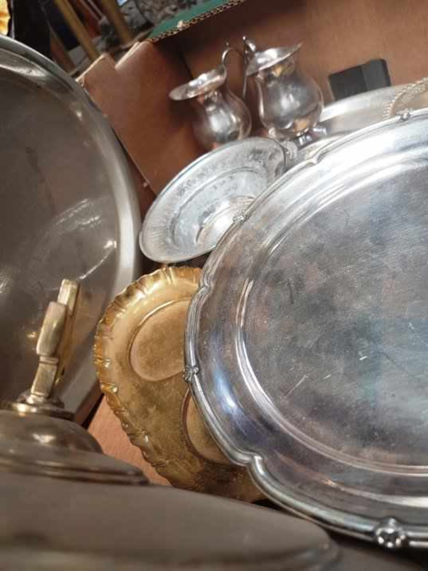 Box of Brass and Plate Communion dishes etc - Image 6 of 6