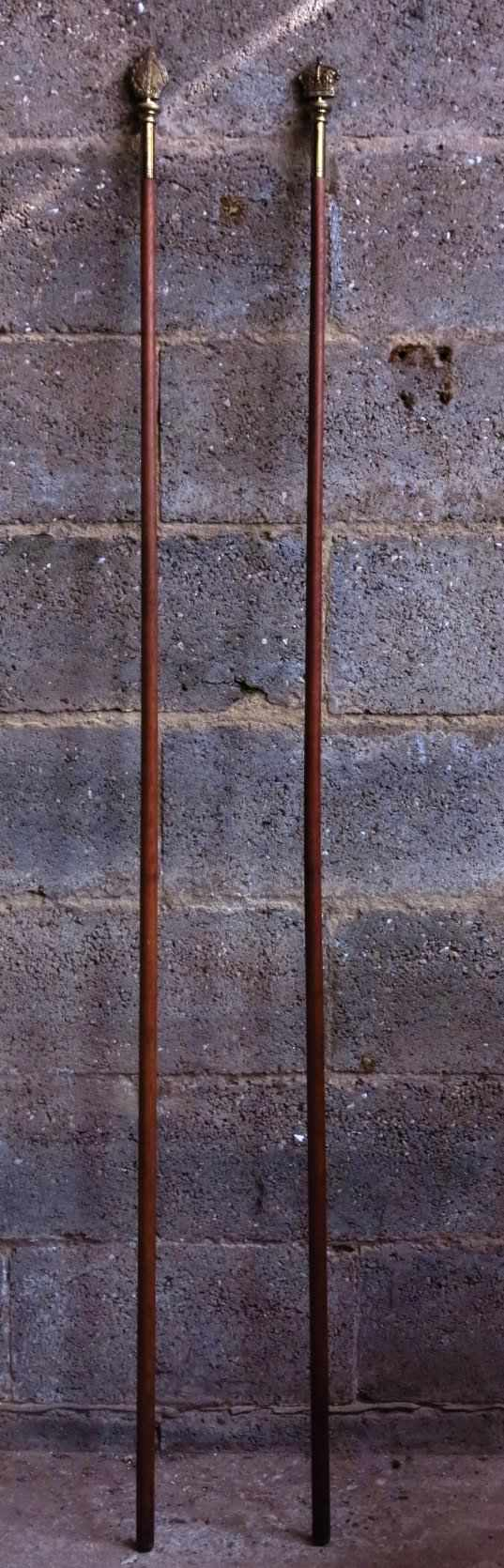 Pair of Heavy Quality Victorian Wardens Staves
