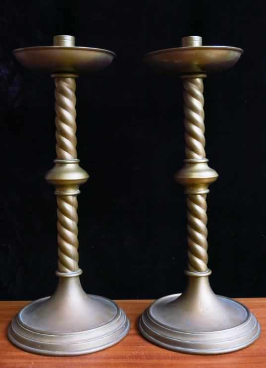 St Richard's Barley Twist Brass Altar Candlesticks - Image 2 of 4