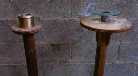 Two Very Tall Paschal Teak and Oak Candlesticks - Image 6 of 6