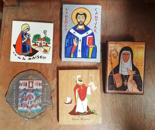 Five Small Icons, Religious Tiles Plaques - Image 2 of 2