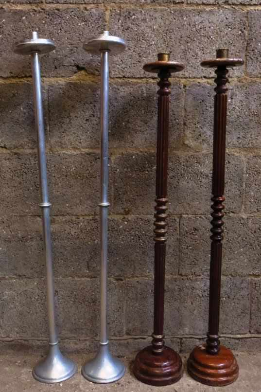 Two Pairs Tall Pavement Candlesticks
