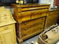 A 19th century mahogany Scotch chest, the rectangular top above a serpentine frieze drawer over