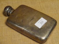 A George V silver hip flask and cup, W & G Neal, London 1910, shaped for the hand, with pull-off