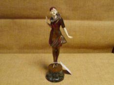 Franz Peleschka-Lunard (Austrian, b. 1873), Pierrette, a patinated bronze and ivory figure, c. 1920,