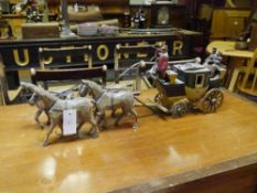 "A painted wooden model of a stage coach, ""The Rocket"" with coachman, and figures, drawn by four"