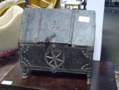 An 18th/early 19th century Indian carved wooden casket, possibly a marriage or money chest, with