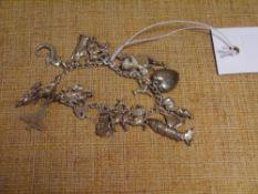 A silver charm bracelet