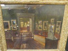 J.B. Robertson R.S.A. (Scottish, fl. 1920-40), Interior at the Kelvingrove Gallery, Glasgow,