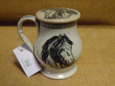An unusual creamware tankard and cover, possibly Leeds, early 19th century, of baluster form,