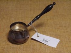 A George II silver brandy warmer, London 1734, of characteristic form, with turned ebony handle,