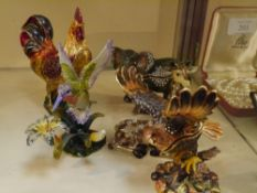 """A group of five """"jewelled"""" enamel trinket boxes, in the form of birds and animals. Tallest 11cm"""