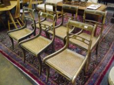 A set of six Regency parcel gilt dining chairs, each with flowerhead carved crest rail and back