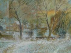 William Birnie R.S.W. (Scottish, 1929-2007), House in a Winter Landscape, signed lower right and