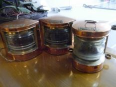 """A set of three copper ships lanterns, with brass plaques, """"Port"""" """"Starboard"""" and """"Masthead"""","""