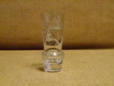 A good quality 19th century Masonic firing glass, etched with characteristic symbols, of tapering