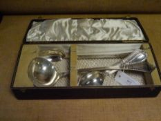 An Edwardian cased silver soup ladle and basting spoon, Walker & Hall, Sheffield 1901, Antique