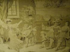 "A 1920's ""tapestry"" panel depicting a tavern scene, in an oak frame. 1.13m by 1.38m"