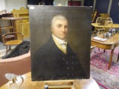 Scottish School, early 19th Century, Portrait of a Gentleman in a Brass Buttoned Coat, oil on
