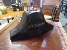 """An early 20th century naval officer's bicorn hat (a/f) in its original japanned tin case painted """""""