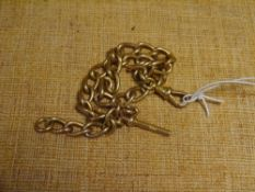 A 9ct gold Albert watch chain, with t-bar. 40.6 grams