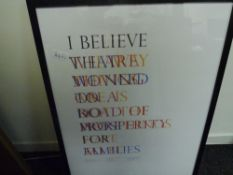 """Paul Fotheringham (Scottish, contemporary), """"I Believe"""", graphic print, signed in pencil and dated"""