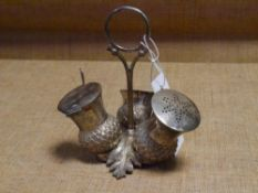 A late 19th century silver plated thistle-form condiment set, salt pepper and mustard