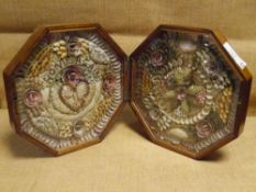 A 19th century mahogany cased Sailor's Valentine, each panel a concentric arrangement of shells